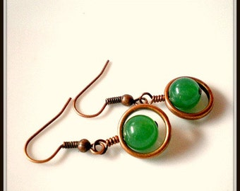 Emerald Green Earrings with Copper Circle Cages