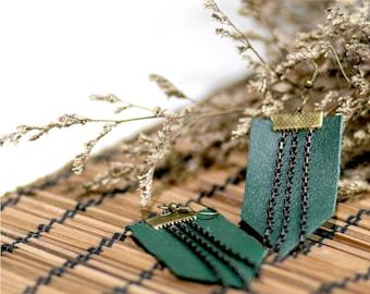 Dark Green Leather & Chains Earrings