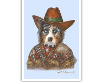 Australian Shepherd Art Print - The Cowboy - Western Dogs - Aussie Dog Art - Pet Kingdom by Maria Pishvanova