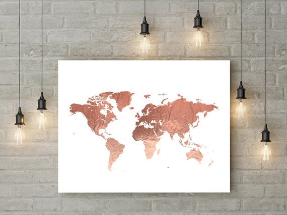 Rose gold world map poster large world map print faux foil map rose gold world map poster large world map print faux foil map printable world map art travel decor pink map print digital file 24x36 16x20 sciox Gallery