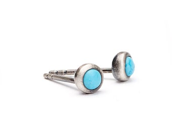 Tiny Turquoise Stud Earrings, Sterling Silver, Gold Plated Post Earrings, Minimalist Studs, Lunaijewelry, Handmade, Gift  for mom, STD075TRQ
