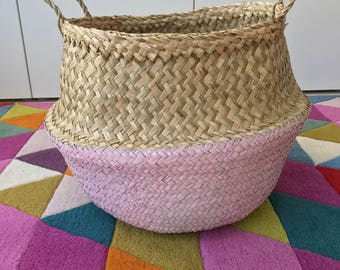 Seagrass Belly Basket Large Hand Painted Pink Panier Poule Nursery Storage Planter Picnic Bag Toy storage
