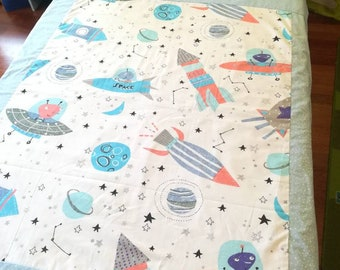 Toddler blanket - Quilt Cover - Kids blanket - Flannel Blanket - Boys blanket - cotton blanket- Summer Blanket - Travel blanket - Space