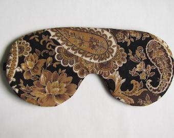 Adjustable Sleeping Mask, Brown Paisley Sleep Mask, Paisley Eye Mask, Sleeping Blindfold