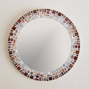 Mosaic Mirror In Brown, Copper U0026 Cream Ivory 40cm   Bathroom Wall Mirror    Round
