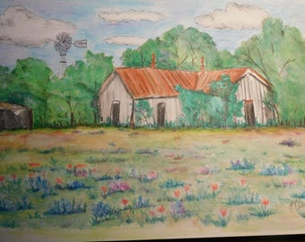 """SALE Original Watercolor Pencil Painting 12"""" x 18"""" Old House, Windmill, Bluebonnets Unframed"""