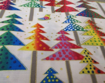 Quilting Weight Cotton Fabric Enchantment Trees designed by Laurel Burch for Clothworks 1 yard