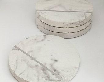 Marble Concrete Coasters - set of 4. Marble effect concrete. concrete homeware