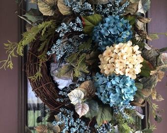 Summer Wreath, Spring Wreath,  Front Door Wreath, Hydrangea Wreath
