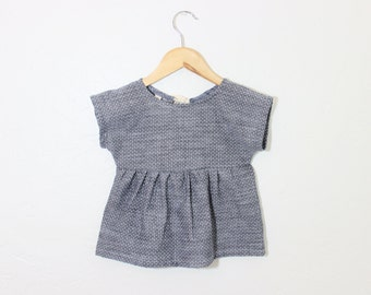 Girls Cotton Tunic in Chambray Dots