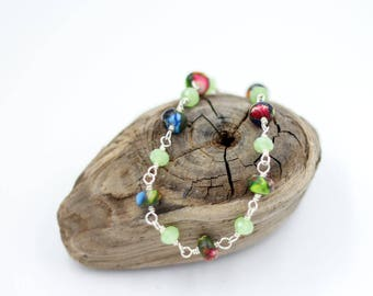 Colorful Jasper bracelet - Bright color jewelry - Stone bracelet - Linked bracelet - Gift for mom - Green bracelet - Multicolor Jewelry