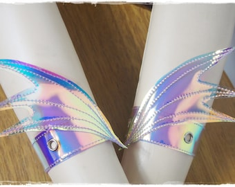 Holographic AB Wing Wrist Cuffs Pair - Ready to Ship - Pastel Goth Festival Rave Dance Fantasy
