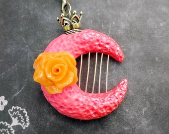 Pink Lunar Harp/ moon necklace