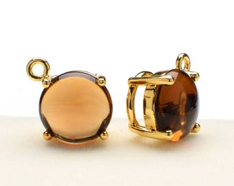 2 Round Smooth Smoky Quartz Crystal Glass Pendant, 12mm, Gold Plated over Brass Prong Setting. [R0190375]
