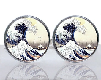 Round Glass Tile Cuff Links - The Great Wave CIR128
