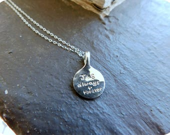 Personalized Sterling Silver Tiny Medallion Pendant Necklace. Made to order. Customized Jewelry. Initial Jewelry. Name Jewelry