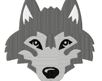 Wolf Husky Head Fill Embroidery Designs 5 sizes,  INSTANT DOWNLOAD