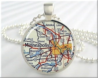Minneapolis Map Pendant, Resin Charm, Minneapolis St Paul Minnesota, Travel Necklace, Picture Jewelry, Travel Map Gift 710RS