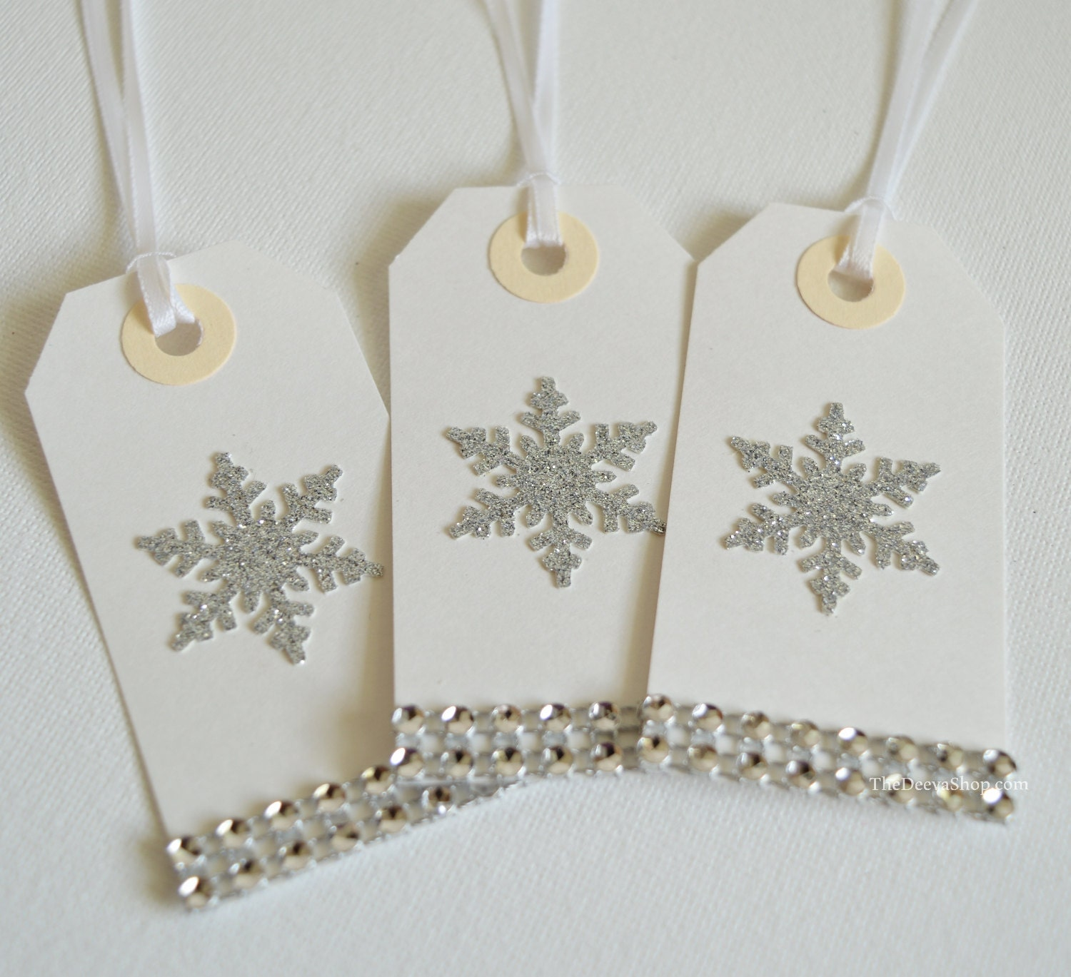 Christmas Gift Tags - Holiday Glitter Snowflake Gift Tags - Silver ...