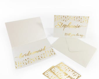Bridesmaid cards Personalized bridesmaids cards Wedding shower cards Bridesmaid gift cards Will you be my bridesmaid card Proposal card Gold
