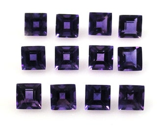 Natural Amethyst Princess Cut 3mm  Great Brilliance Nice Luster Excellent Deep Purple Color (5963)