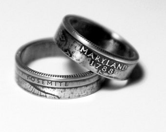 Handcrafted Ring made from a US Quarter - Maryland - Pick your size