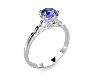 White Gold Sapphire Engagement Ring White Gold Engagement Ring Sapphire Ring 14k Sapphire Engagement Ring Sapphire Diamonds White Gold Ring