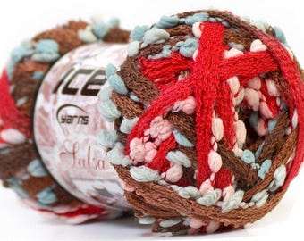 Ruffles Yarn red, Brown, white and blue tassels