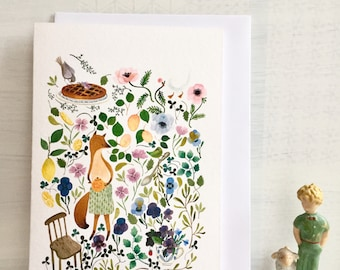 Woodland note card, animal and botanical card, fox notecard, animal and  bird and flowers stationey, biglietto d'auguri