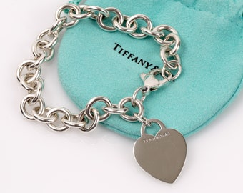 Authentic TIFFANY & CO. Heart Tag Charm Bracelet // 925 Sterling Silver // 7.25 Inch // T and Co // Excellent