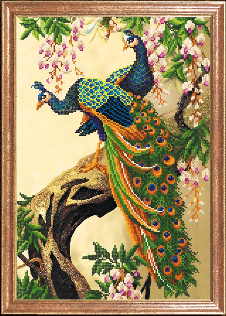 Peacocks - wall art, beaded picture, beadwork, embroidery with beads ...
