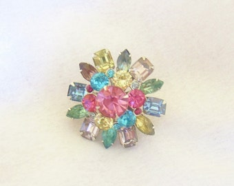 CORO – Domed 3-layer round brooch prong set with multi colored rhinestones signed