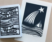 The Shooting Star Lino Print + A Copy of 'If The Wind Won't Serve Take To The Oars' Zine / Artist Book