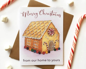 Sweet Christmas Card Set - New Home Christmas Cards - Christmas Cards Gingerbread House - Candy Christmas Cards - Set of 10 Christmas Cards