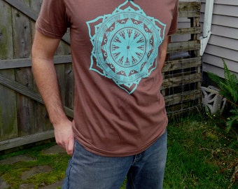 Bright Turquoise Indian Lotus Mandala Screen Printed on a Sand Stone Chestnut Brown Soft Cotton T Shirt