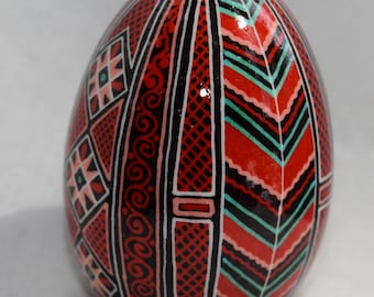 One of a kind pysanky on duck egg.  Red, green, orange and white on a black background.  Traditional Pysanky Ukrainian Egg Pisanka
