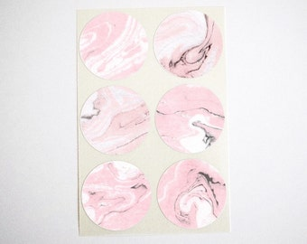 "Pink Marble Stickers. Marble Labels Envelope Seals. Marble Favor Labels. 1.5"" Round Stickers. Set of 60 Stickers. Once Upon Supplies"
