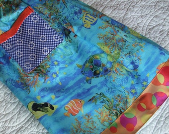 Girls' skirt, under the sea, sea turtles, bubbles, sizes 3T-12