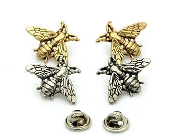 2 Pcs 1.06 Inches Retro Gold/Silver Bee Metal Shank Buttons For Brooches