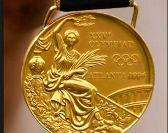 1996 Atlanta Olympic 'Gold' Medal with Silk Ribbon