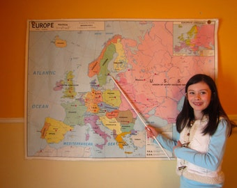 Vintage 1971 Europe School Map Large Wall Political Agricultural