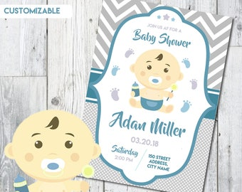 Baby Shower Invitation Boy Silver and Blue, Baby Shower Invitations Silver and Blue, Blue and Silver Shower Invite, Striped Invitation