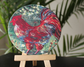 Rooster Sandstone Coaster - Rooster Acrylic painting - Handmade gift ideas - Sandstone Coasters