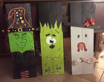 Wood, holiday decorations, Santa, Snowman, Witch