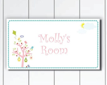 Personalized Kids Door Sign, Birds, Pretty Colorful Tree, Nursery Wall Art