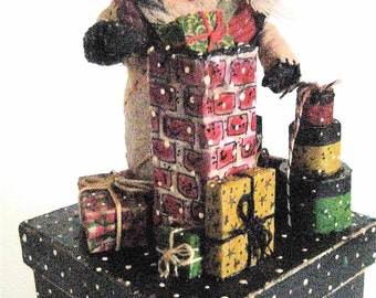 """Santa OOAK Primitive Folk Art Santa """"UP on the ROOFTOP"""" Original Design from Old Quilt on Painted Box w/handmade Chimney, Pantry Box, Gifts"""