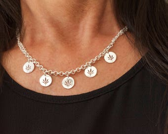 Marijuana dangle charms necklace - stoner gifts - three tone - cutout weed coin - marijuana coin necklace - 420 leaf necklace - stoner girl