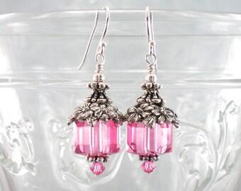 Short Rose Pink Crystal Earrings in Silver