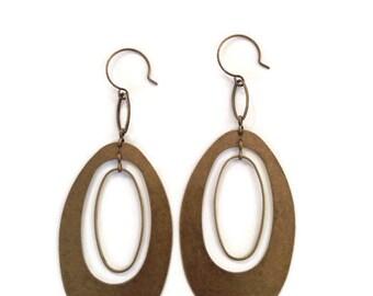 Antique Brass Oval Earrings