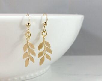 Gold Leaf Earrings, Wedding Earrings, Fall Leaf Earrings, Silver Leaf Earrings